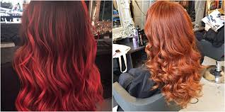 orange pink balayage and a wavy dry by paco at live true london hair salon vauxhall copper balayage and a bouncy dry by orlando at live true