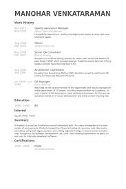 Qa Resume Objective Best of Quality Assurance Manager Resume Samples VisualCV Resume Samples