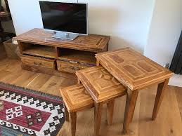 m s malabar sideboard media centre and nest of 3 coffee tables in good condition