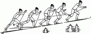 Ознакомление и разучивание техники подъема обычным шагом При подъеме скользящим шагом фазы скольжения и стояния лыжи по времени примерно равны При преодолении подъемов любым способом большое значение имеет