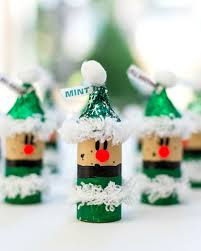 Christmas Craft Ideas for Kids Wine Cork Elves with @hersheyskisses hats  #NewTraditions #ad