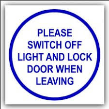 lock door sign. 1 X Please Switch Off Light And Lock Door When Leaving-87mm,Blue On Sign E