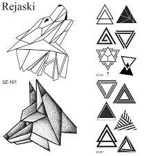 маленькие геометрические волки временные татуировки наклейки женский