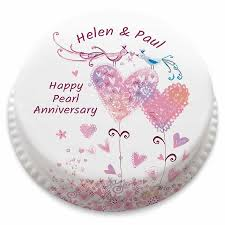 Personalised Pearl Anniversary Love Birds Heart Cake From 1499