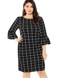 0x Plus Size Chart Milumia Womens Plus Size Elegant Ruffle 3 4 Bell Sleeves Work Plaid Dress