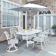 patio furniture white. Floral Blossom White 84 X 42.25-Inch 7-Piece Outdoor Dining Set With Umbrella Patio Furniture I