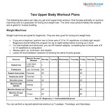 Upper Body Workout Plans Lovetoknow