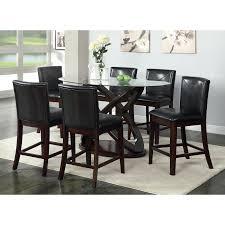 furniture of america ollivander 7 piece counter height glass top dining table set dark walnut com