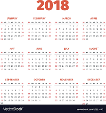 The Year Calendar Simple 2018 Year Calendar Royalty Free Vector Image