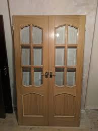 internal oak double french glass doors