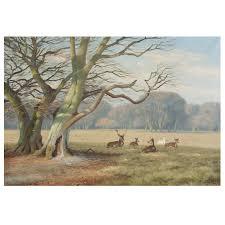 deer park oil on canvas signed k drews 1938