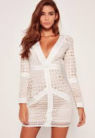 White Lace Plunge Bodycon Dress Missguided Ireland
