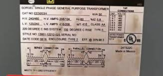 Sorgel Transformer Chart Amazon Com Transformer In 240 480 Out 120 240 50kva