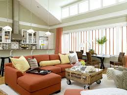 living room awesome furniture layout. Awesome Furniture Layout Ideas For Small Living Room With Orange Sectional Sofa And Elegant Curtains Also Mini Pendant Lamps S
