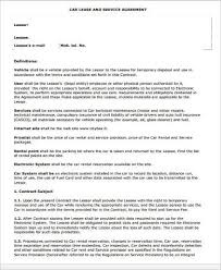 Lease Contract Sample Car Lease Agreement Form Sample Lease Contract Forms 10 Free