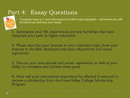 ivc scholarship essay workshop presented by michelle scharf ivc  part 4 essay questions  compose essay in a word document and then copy and
