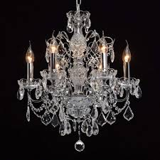 Kronleuchter Klassisch Barock 6 Armig Chrom Kristall