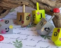 Wooden Spinning Top Game Hanukah game Hanukkah Dreidel Judaica toy Hand painted Dreidel 66