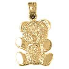 sterling silver teddy bear pendant rhodium yellow or rose gold plated