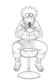 Small Picture Coloring Pages Anime Naruto Eating Ramen Cartoon Coloring pages
