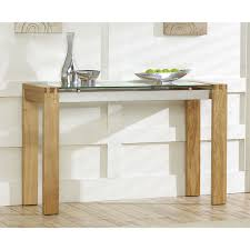 venice solid oak console table with glass top – next day delivery
