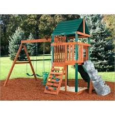 diy swing sets kits swing n slide wooden swing set kit back view home ideas
