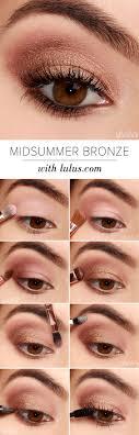 glittery bronze look step by step eyeshadow tutorial for brown eyes