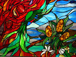 australian flora rainbow lorikeet scene leadlight stained glass art 4 windows
