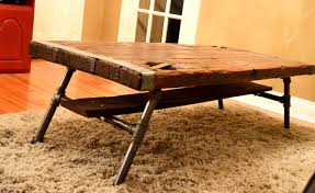coffee table reclaimed wood top with metal base you