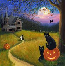 cats pumpkins witch ghost haunted house ravens moon original painting