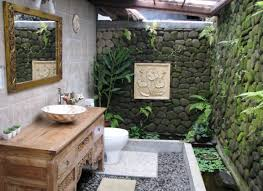 bathroom unique stone wall and flower ornaments in extraordinary tropical alluring bathroom unique stone wall