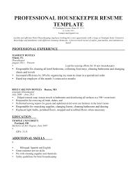 Housekeeper Resume Description No Experience Housekeeping Sample