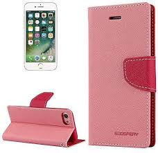 generic mercury goospery fancy diary for iphone 7 cross texture horizontal flip leather case with card slots and wallet and holder pink