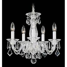 allegro silver five light clear heritage handcut crystal chandelier 15w x 14h x 15d