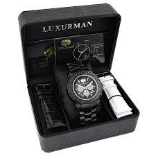 luxurman escalade mens black diamond watch oversized chronograph luxurman escalade mens black diamond watch oversized chronograph 4 75ct box
