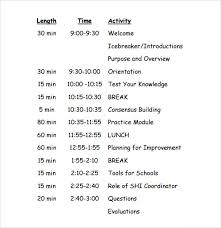 sample agenda sample training agenda 7 example format