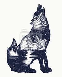 Nálepka Vlk Double Expozice Tetování Symbol Turistika Cestování Dobrodružství