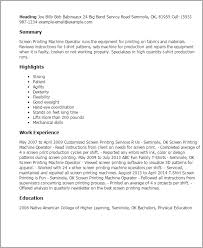 ... Lofty Design Resume Printing 6 Professional Screen Printing Machine  Operator Templates To ...