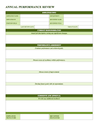 Employee Performance Assessment Examples 50 Annual Performance Appraisal Form Samples Free Download