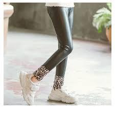 baby girls leggings winter kids thick pu leggings pencil pants children warm trousers faux leather leggings