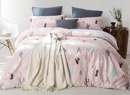 61 minimalist cactus printed pink cotton 4 piece bedding sets duvet cover
