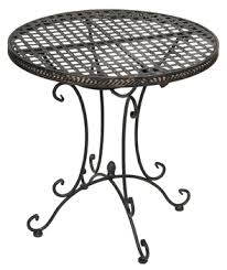 Round outdoor metal table Outdoor Dining Metal Cafe Style Round Garden Table In Black 70cm Deckchairs Metal Cafe Style Round Garden Table In Black 70cm Metal Cafe Style