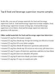 Top-8-food-and-beverage-supervisor-resume-samples-