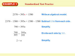 solution standardized test practice write and solve a two step equation to find the number 3 example
