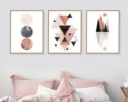 rose gold and pink wall art
