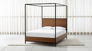 James Walnut with Black Frame Queen Canopy Bed + Reviews | Crate and ...