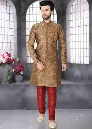 Groom Sherwani Latest Design Brown Art Silk Jacquard Groom Indo Western Sherwani