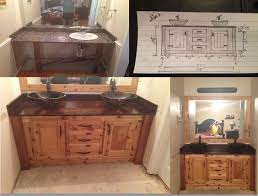 making bathroom cabinets: diy bathroom vanity i used a pine top and stained it dark walnut with three coats