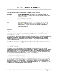 Patent License Agreement Template Word Pdf By Business