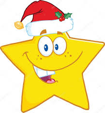 Smiling Star Cartoon Character With Santa Hat Stock Photo